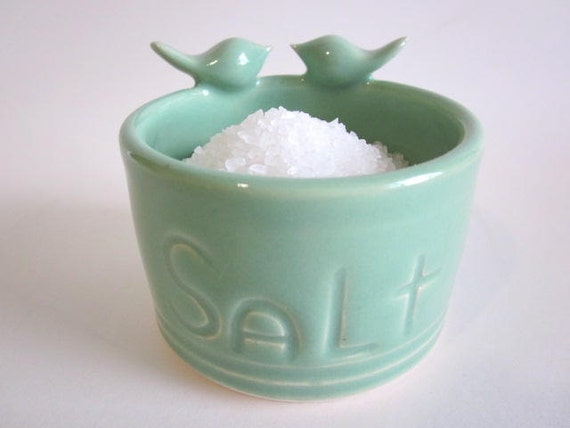 Salt pig mint green - Salt keeper - sculptured birds - Salt Cellar Kitchen Storage - Handmade Ceramic Pottery