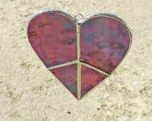 Green Peace Heart Stained Glass Suncatcher or Christmas Holiday Ornament