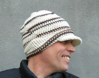crochet jeep cap/ winter white wool