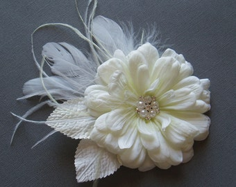 Wedding Hair Piece Ivory Bridal Hairpiece Flower Clip, Bridesmaid Head Piece, Wedding Fascinator, comb pin barrette