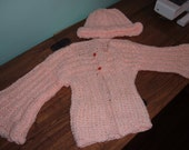 Girls Crocheted Peach Sweater and Hat