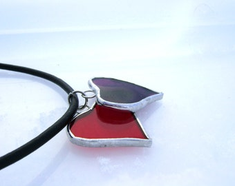 Purple Red Hearts Valentines Stained Glass Pendants Mothers Day Twins Sisters Easter Gifts Red Hatters