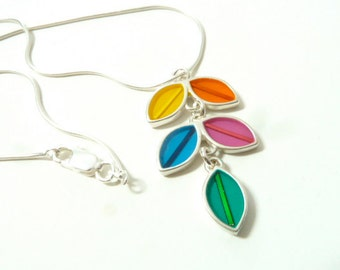 Colorful short vine necklace, sterling silver, hand made