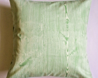 """Throw Pillow Cover, Toss Pillow, Accent Pillow, Cushion Cover, Celery Green Pillow Cover in Wood Grain, Joel Dewberry Fabric, 16x16"""" Square"""