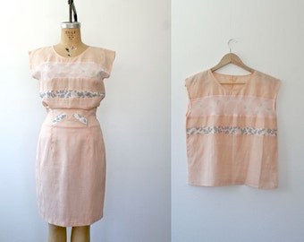 vintage linen dress / animal print dress / Lennox blouse & skirt