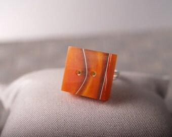 Swirly Orange/Chocolate tile on adjustable sterling ring