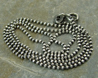 Artisan Oxidized Rustic Patina Sterling Silver 1.2 MM Diamond Cut Ball Chain - 20 Inch With Clasp - One - 1.2dc20ox