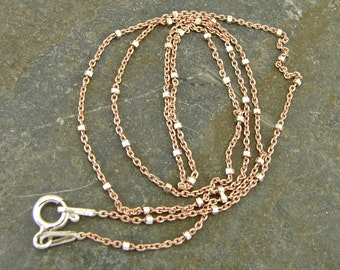 Rose Gold Vermeil And Sterling Two Tone Chain - 16 Inches - Rose Gold Chain - Rose Gold Findings - ttrs16