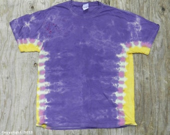 Purple and Gold Tie Dye T-Shirt (Size L) (Fruit of the Loom) (One of a Kind)