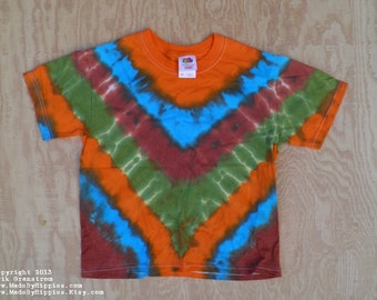 Mother Earth V-Stripe Tie Dye T-Shirt (Fruit of the Loom Size Youth S 6-8) (One of a Kind)
