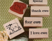 Vintage Sheep Rubber Stamp~Lamb with Bell~Nursery Rhyme~Baby~Ewe~Farm Animal~Farm Life~Wood Mounted Stamp~Mountainside Crafts (17-12)