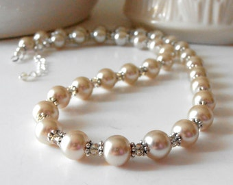 Beige Pearl Necklace with Crystals Champagne Bridesmaid Jewelry Sets Beaded Bridal Necklace Handmade Pearl Wedding Jewellery