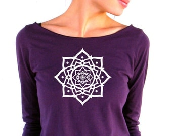 Womens Long Sleeve TShirt - Lotus - American Apparel - 3/4 Sleeves - Boat Neck - small, medium, large, xl