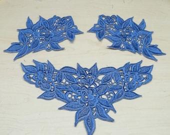 blue floral appliqués,embroidery appliqués,blue embroidery,floral appliqués,blue floral embroidery appliqués,