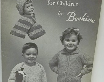 vintage Beehive knitting for children patterns,sweater,scarves,hats,accessories,Patons no 518,Molana for children,50 pages book,