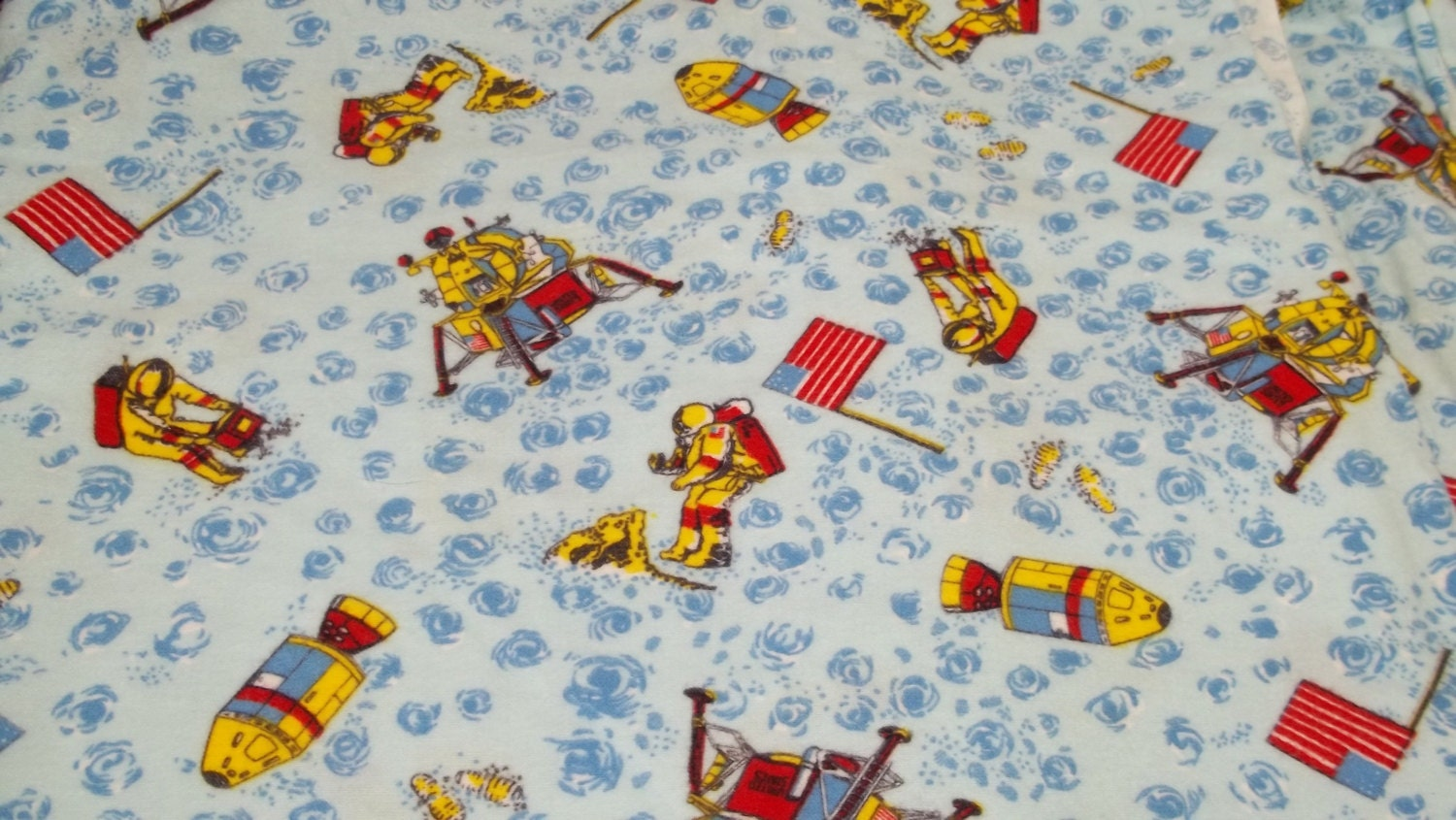 Vintage boys space moon astronaut fabric by for Space baby fabric