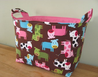LARGE Fabric Organizer Basket Storage Container Bin Bucket Bag Diaper Holder Home Decor Toy Bin- Size Large  Urban Zoologie 3 Cows in Spring