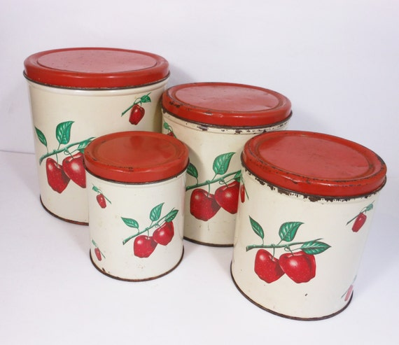 vintage kitchen canisters items similar to vintage kitchen canisters apple 15362