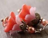 Peachy Pink layered flower earrings