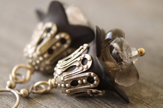 Miss Havisham layered black flower earrings