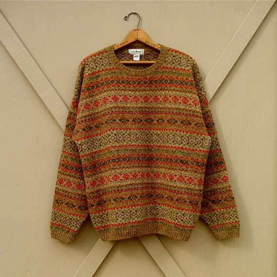 90s L.L. Bean Woodland Earth Tones Patterned Wool Sweater
