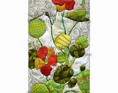 Nasturtium: Floral Print of Original Oshie Fabric Collage Quilted Cloth Artwork, bright green and orange happy garden art!