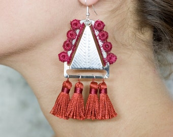 Lace earrings - TAPESTRY - Wine lace and brick tassels with silver