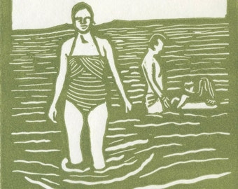 Swimming Linocut Print - Moss Green on Japanese Printmaking Paper