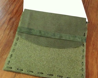 Green Wool Felt 11 inch Laptop Case with Leather Flap