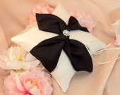 Knottie Ring Bearer Pillow with Rhinestone Accent...You Choose the Colors....Buy One Get One HALF OFF..shown in ivory/black