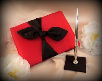 Knottie Style Satin Guest Book...You Choose The Colors..Shown in red/black