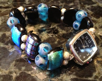 Fused Dichroic Glass Beaded Stretch Watch in Blues