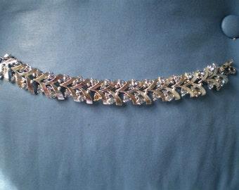 Vintage Coro Silver Tone and Sapphire Blue Rhinestone Bracelet Missing Stones but Beautiful