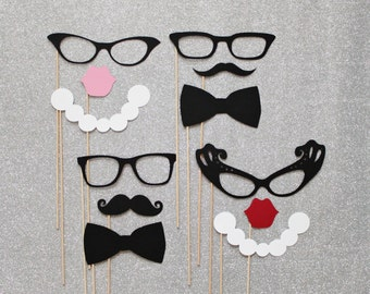 Photo Booth Props. Black Tie Wedding Party Photo Booth Prop Set. Photo Booth Props. Mad Men Little Retreats Set of  12.