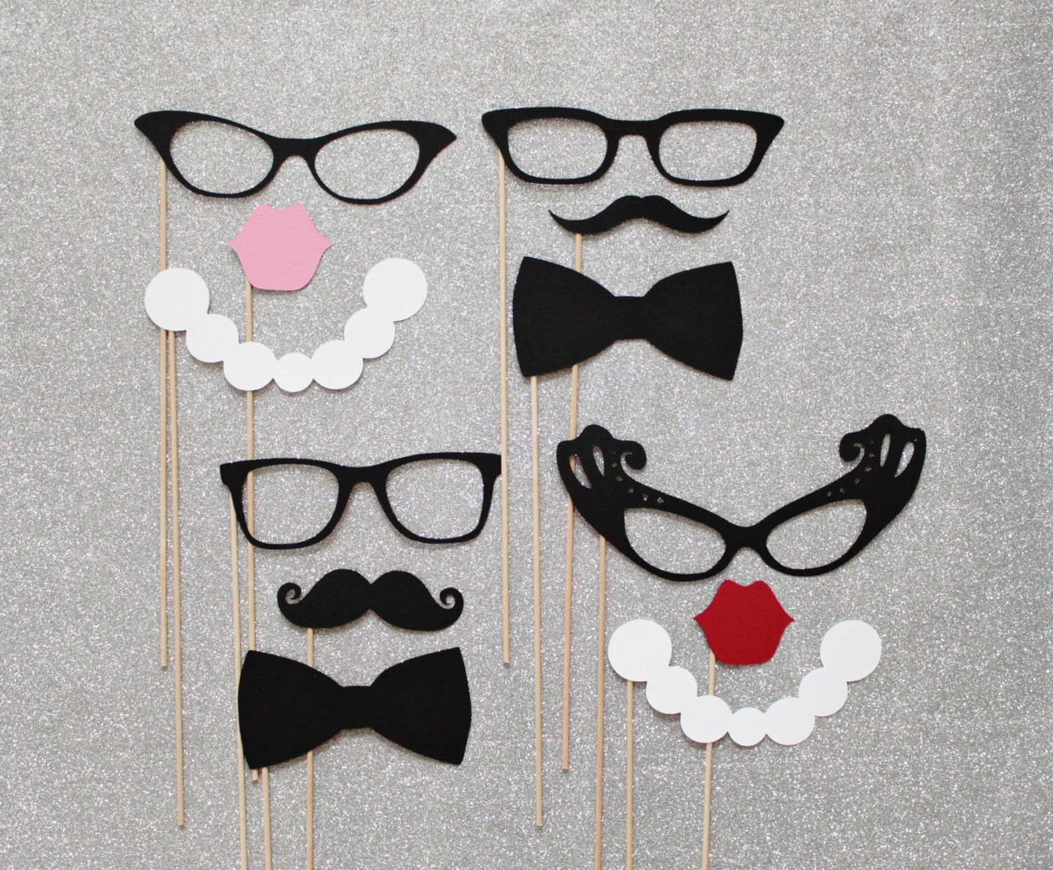 Mad Men Photo Booth Props. Black Tie Wedding Party Photo Booth