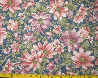 Pre Quilted Fabric Half Meter Cut Floral Design Dusty Blue