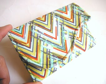 Chevron Business Card Case Credit Card Holder Gift Card Case in Teal Orange Yellow Print - Chevron Love