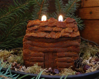 Rustic Log Cabin Primitive Beeswax Candle, Scented Beeswax Candle, Rustic Cabin Decor, Primitive Decor