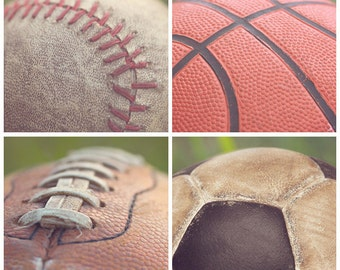 Set of 4 Vintage Sports Balls in Grass 8x8 Fine Art Photography Prints