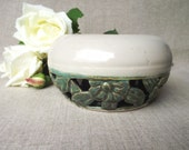 Double Wall Bowl with Flowers and Leaves  - Stoneware (grès) Bowl
