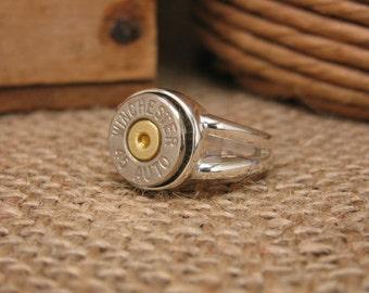 Bullet Jewelry - STERLING SILVER Split Shank Bullet Casing Ring - Bullet Ring - Gun Jewelry