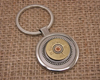 Mens Accessories - Shotgun Casing Jewelry - Quality Round Silver Key Ring with 20 Gauge Shotgun Casing - Gift for Guy, Groomsmen Gifts