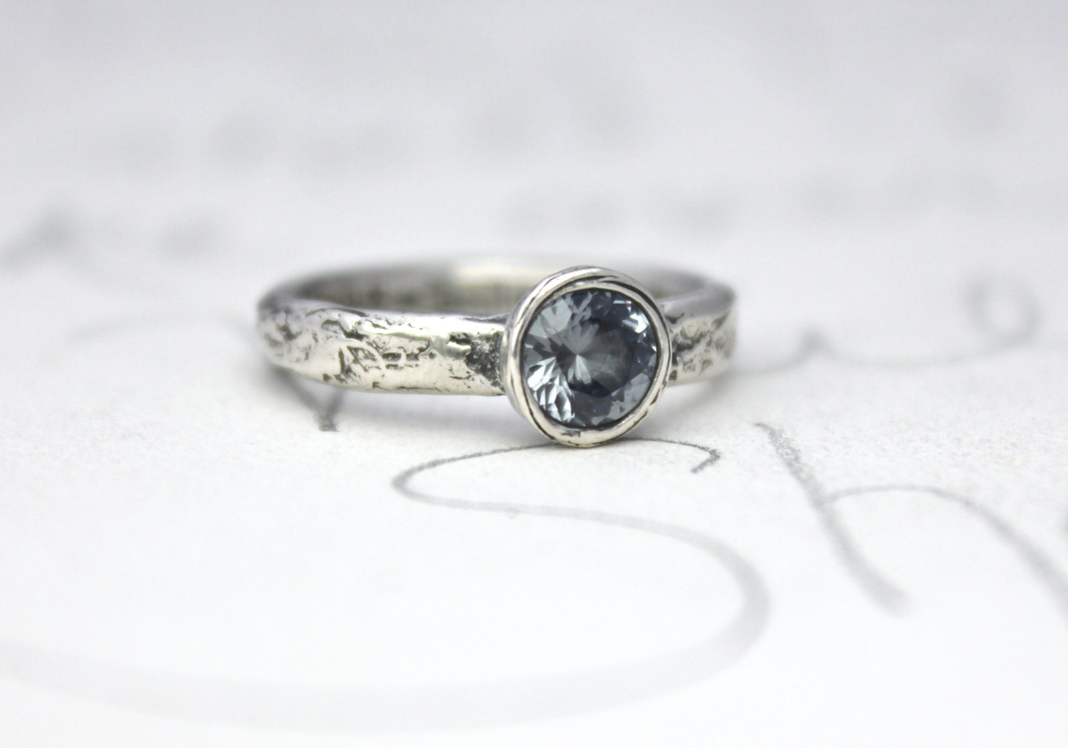 Blue Grey Spinel Engagement Ring Unique By Peacesofindigo