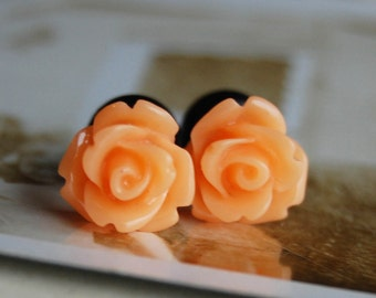 4g (5mm) Orange Sherbet- Rose Flower Plugs-for stretched ears