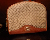 Reserved to Elayna Authentic Vintage Paolo Gucci Design Brown Leather PG Logo Cosmetic Case Clutch Bag