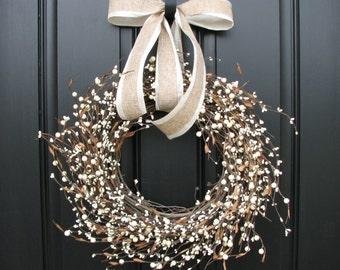 Shabby Chic Wreath - Cream Berry Wreath - Summer Wreath - Year Round Door Decor