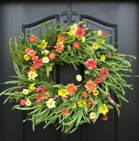 Wreath summer wreaths may flowers wreath for summer summer for Beach house designs florist