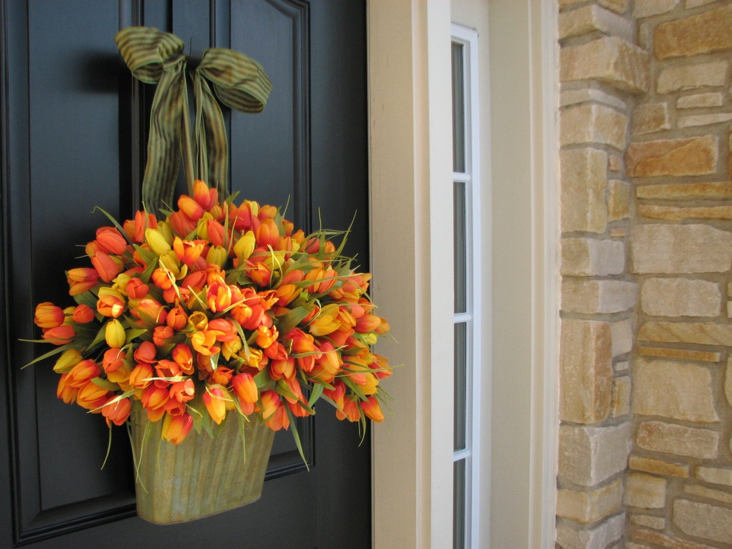 Spring tulips xxl front door decor country french by for Front door decor