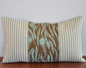 Sinister Swarm and Ticking 12x20 Lumbar Pillow Cover Peacock Feather Print and Ticking Accent
