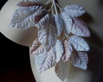 Velvet Leaves in Blush, Mocha & White for Bridal, Boutonnieres, Millinery, Headbands, Costumes ML 12